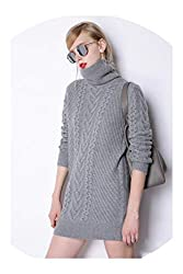 The Small Cat Winter Cashmere Sweater Womens Turtleneck Loose Style 100 Pure Cashmere Sweater Pullover Gray M