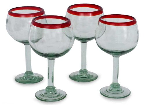 NOVICA Hand Blown Clear Red Recycled Glass Wine Glasses, 12 oz 'Ruby Globe' (set of 4) Review