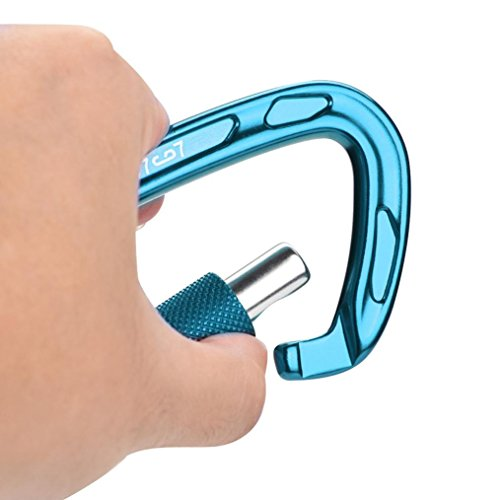 Kintaz D- Shaped Steel Climbing Carabiner(25kn=5600lb),CE Rated Heavy Duty Carabiners For Rock Climbing Rappelling Hiking Hanging Ropes Camping Slack Lines Rigging & Anchoring (Blue)