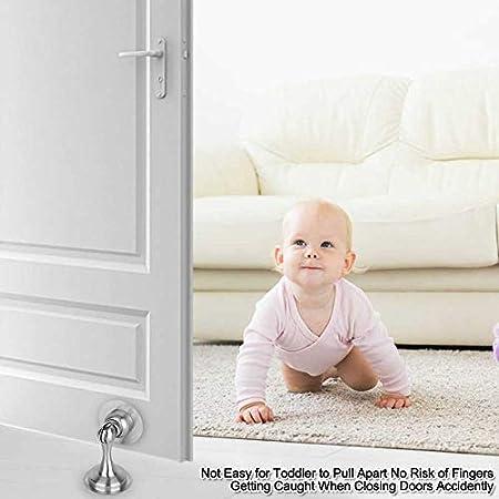Wall Mount Door Holder Keep Your Door Open Stainless Steel Door Catch,3M Double-Sided Adhesive Tape Door Stopper Magnetic Door Catch Magnetic Door Stop