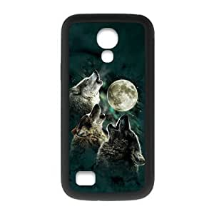 SamSung Galaxy S4 mini Case,Cool Howling Wolf And Moon & Beautiful Starry Sky Of Night Design Cover With Hign Quality Rubber Plastic Protection Case