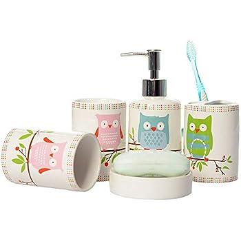 Amazon Com Brandream 5 Piece Kids Bathroom Sets Owl
