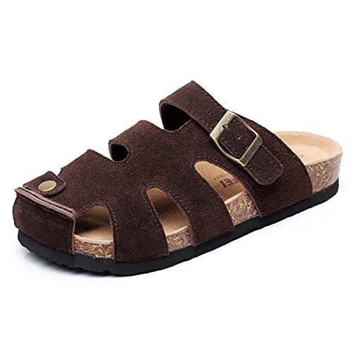 Dfb Chaude Et Sûre Confortable Respirant Chaussures Baotou Chaussures Chaussures Chaussures Chaussures Douces Souples,SuedeGray