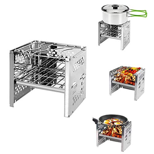 (Lljin Outdoor Portable Foldable Camping Stove Wood Stove Stainless Steel BBQ Grill (8.35.95.9)
