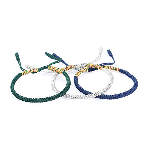The Belcher's 3pcs/Set Tibetan Buddhist Woven Bracelets Lucky Protection Red String Knot Rope Handmade Friendship Bracelet for Mens Womens Jewelry-Green White Blue