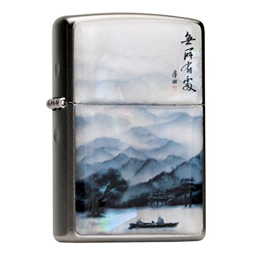 mother-of-pearl-handmade-row-boat-on-lake-asian-painting-white-flip-top-windproof-metal-chrome-pocke