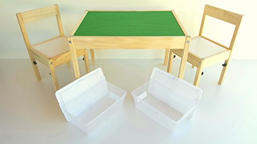 Special edition LEGO table - LEGO-Compatible Ikea childrens table and chairs set with storage bins by SCS Custom Woodworks