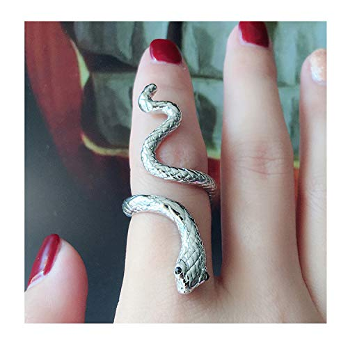 choice of all Adjustable Punk Rock Snake Ring for Women Retro Gothic Finger Jewelry Accessories (B:Sliver 2 Textured)
