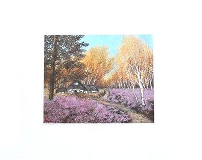 Heide Dahl Poster Bild Kunstdruck Heidehaus (handsigniert) 40x50cm