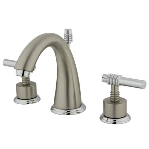 Widespread Lav Faucet Polished Brass - Kingston Brass KS2967ML Milano Widespread Lavatory Faucet with Metal lever handle, Satin Nickel and Polished Chrome