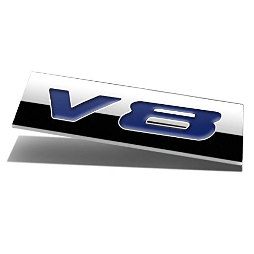 Chrome Finish Metal Emblem V8 Badge (Blue Letter)