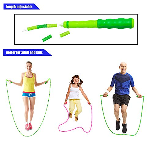 YongnKids Fitness Equipment Jump Skipping Rope for Kids Girls Boys,Adjustable Segmented Rope Pink and Green 2 Pack