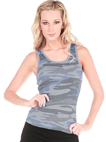 Kavio Junior Heather Camouflage Boy Beater Tank Slcn Wsh, Camo Blue, X-Large (Boy Beater Tank)