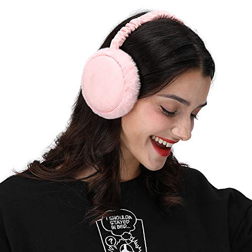 LETHMIK Winter Ear Muffs Outdoor,Mens&Womens Faux Fur Foldable Earmuffs Ear Warmer Cold Weather Pink