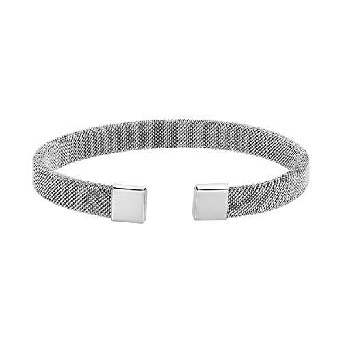Caterina Jewelry Men's Stainless Steel Mesh Bracelet, Silver (Mesh Stainless Steel Bracelet)