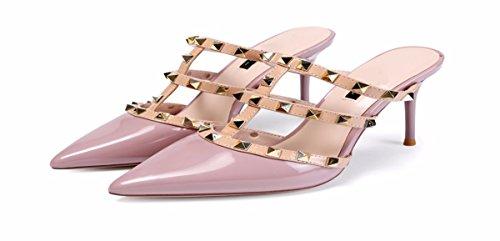 Autunno Sottile donna Di Traspiranti Acuta Pantofole Heeled 9Cm Sexy Scarpe da Le Cuoio Pink High Moda Rivet HBDLH E AEwq7fI0qx