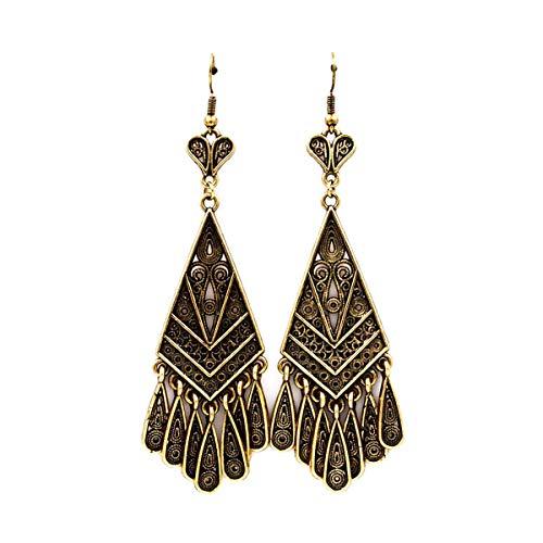 Nouveau Brass Chandelier - Antiqued Gold Deco Chandelier Earrings