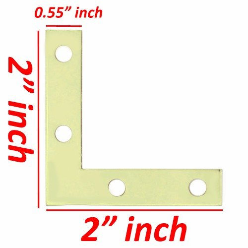 Wideskall 2'' inch Flat Corner Angle Brace Repair Plated Bracket Bright Brass w/ Screws (Pack of 40)
