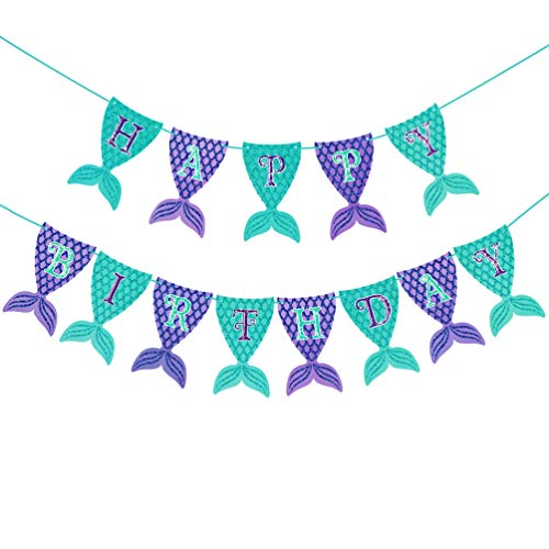 SAKOLLA Mermaid Happy Birthday Banner - Glitter Mermaid Tail Backdrop Banner for Mermaid Theme Birthday Party, First Birthday, Baby Shower