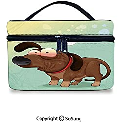 Funny Makeup Bags Printing Puppy in Love Werner Dog Romance Confusion Humor Caricature Style Pet GraphicToiletries Organizer Bag,9.8x7.1x5.9inch,Brown Almond Green