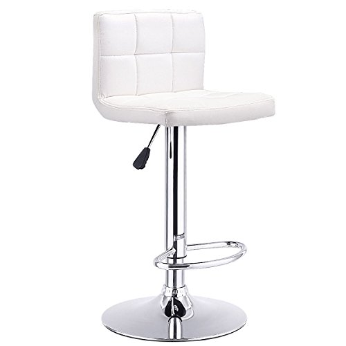Costway Swivel Bar Stool Adjustable PU Leather Barstools Bistro Pub Chair Counter Barstool (White) (Chair Bar)