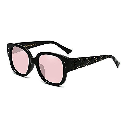 pour de cerclées surdimensionnées de Soleil Joo de Femmes Pink Les Rivet Yeux Noir Soleil Lunettes Couleur de Lunettes Chat Lunettes fraîches Soleil Lady's Hqtw4O