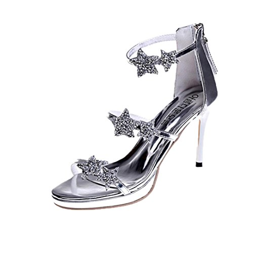 Sandales femmes à bout sandale frottement Sandales pour chaussures d'été chaussures ceinture Chaussures porter de de pointu Pas d'argent Pieds à confortables hauts talons plates plage à qqwvTpgI