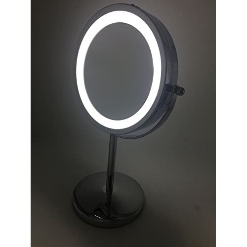 """hot sale LED Lighted Makeup Mirror with lights Double-Sided Polished Chrome Finish 7-Inch Battery-Operated and 3X Magnifying (7"""")"""