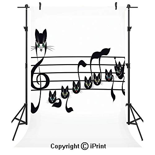 Music Decor Photography Backdrops,Notes Kittens Kitty Cat Artwork Notation Tune Children Halloween Stylized,Birthday Party Seamless Photo Studio Booth Background Banner 3x5ft,