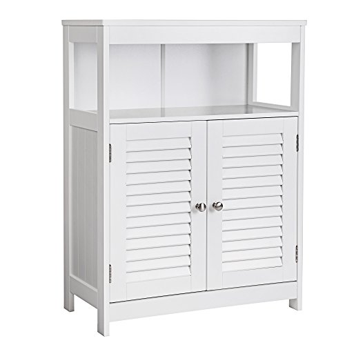 Double Door Floor Cabinet (SONGMICS Bathroom Cabinet Storage Floor Cabinet Free Standing with Double Shutter Door and Adjustable Shelf White UBBC40WT)