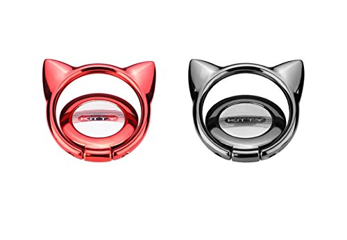 2 Pcs Cell Phone Ring Stand holder, Ring Grip kickstand For Magnetic Car Mount Holder,360 Rotation Metal Finger Ring Cellphone Holder For iphone X/8, Ipad and Almost All Phones(Black+Red Cat)