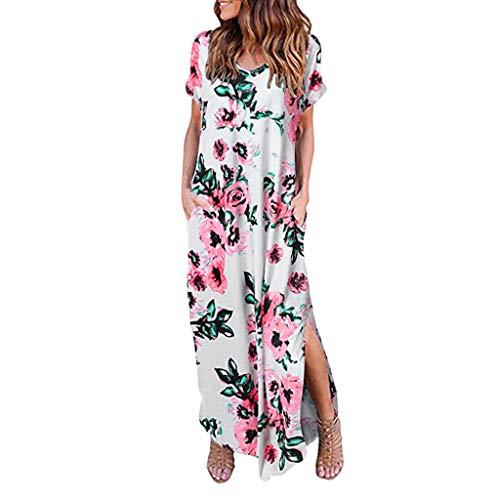 Women's Maxi Dress Bohean Floral Printed Wrap V Neck Short Sve Split Beach Party Dress Sundresses White]()