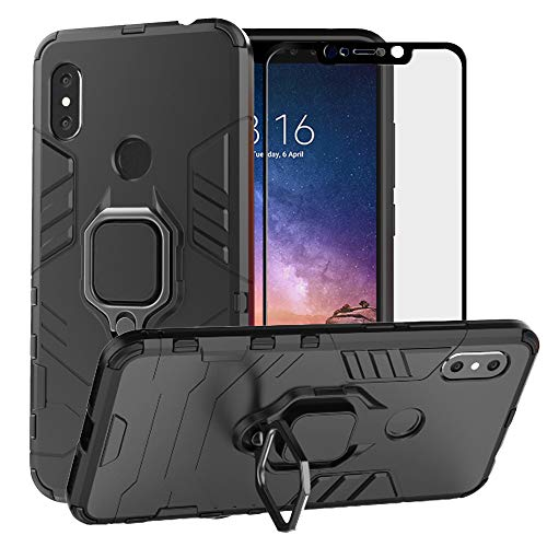 BestAlice for Xiaomi Redmi Note 6 Pro Case/Redmi Note 6 Case, Hybrid Heavy Duty Protection Shockproof Defender Kickstand Armor Case Cover Tempered Glass Screen Protector,Black