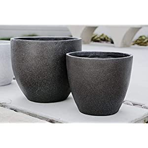 Canary Products PL1515BK Xbrand Modern Nested Black Round Flower Pot Planter, 14 Inch & 12 Inch Tall