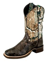 Old West Cowboy Boots Boys Kid Reinforced Block Chocolate Camo BSY1848
