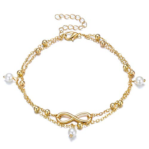Fesciory Women Anklet Adjustable Beach Ankle Chain Gold Alloy Foot Chain Bracelet Jewelry Gift (Infinity) ()