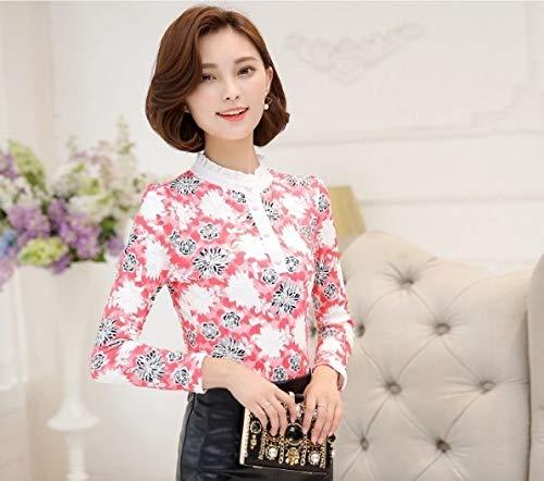 Blusa Mujeres Floral Ropa Tops Larga De Camisas Manga Impreso Ysfu Encaje Las Mujer q0fSxEwnX