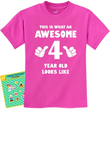TeeStars This Is What an Awesome 4 Year Old Looks Like Cute 4 Year Old Kids T-Shirt Small Pink (Unisex Presents Ideas)