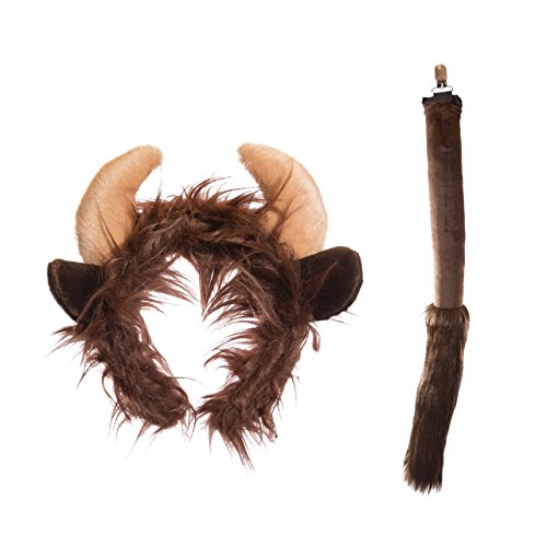 Life-like Buffalo Ears Headband and Tail Set for Zoo Animal Party and Buffalo Costume Cosplay