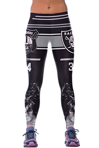 COCOLEGGINGS Ladies 3D Digital Print Football Leggings Grey (S-L)