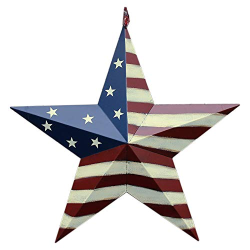 Patriotic Metal Barn Star Hanging Wall Decor 3D Dimensional Star Barn Outdoor Indoor 4th of July Decoration ()
