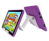 "Insignia Flex NS-P08A7100 TPU Case - iShoppingdeals Slim Fit , Anti-Slip Protective TPU Rubber Cover for Insignia Flex 8"" NS-P08A7100 Tablet 2016 Release Case and View Stand Holder - Purple"