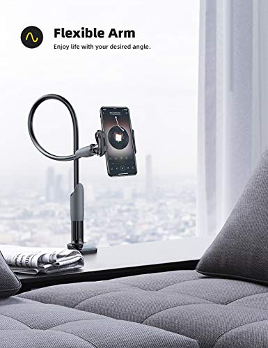 """Gooseneck Phone Holder, Lamicall Flexible Holder for Bed : Lazy Arm 360 Adjustable Clamp Bracket Stand for Phone 11 Pro Xs Max XR X 8 7 6 Plus, Samsung S10 S9, HUAWEI, Smart Phones, All 4-6.5"""" - Black"""