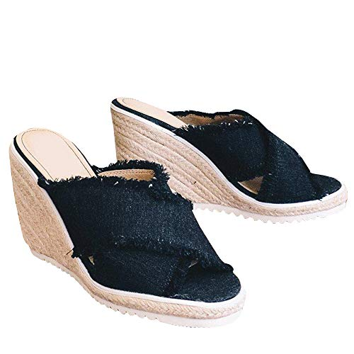 - Fashare Womens Platform Espadrille Wedge Slide Sandals Bowtie Knot Open Toe Slip on Summer Mules Shoes