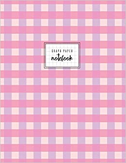 graph paper notebook pink violet square grid journal gingham