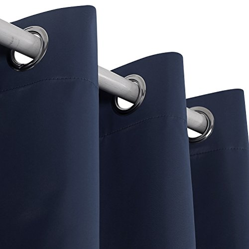 Deconovo Navy Blue Thermal Insulated Blackout Curtains Grommet Curtains with Silver Coating for Kids Bedroom 52 By 95 Inch Navy Blue 2 Panels