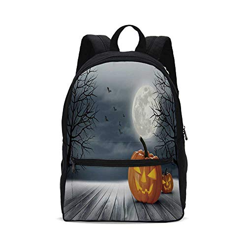 Halloween Fashion Canvas printed Backpack,Cold Foggy Night Dramatic Full Moon Pumpkins on Wood Board Trees Print for school,One_Size -