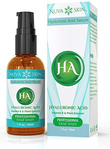 NUVA SKIN Hyaluronic Acid Serum - Intense Hydration & Moisture, Non-greasy, Paraben-Free Natural Facial Serum for Acne, Anti Wrinkle, Anti Aging - Fades Age Spots & Sun Damage (Acido Hialuronico)
