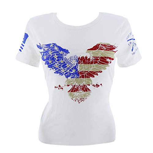 Grunt Style Freedom Eagle Women's T-Shirt, Color White, Size X-Large ()