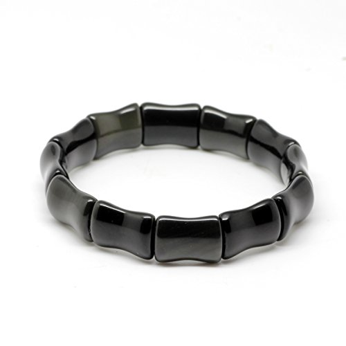 Rolove Stylish 3A Natural Obsidian Handmade Bracelet with Flexible Rainbow Eye Bamboo Shaped Obsidian Bead
